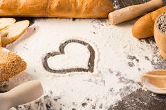 Mjöl och vitt bröd Arkivfoton