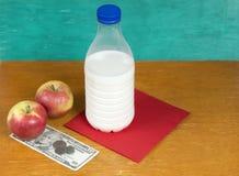 Mjölka, äpplen och pengar Royaltyfri Fotografi