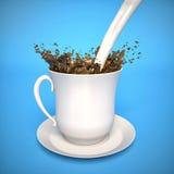 Mjölka att plaska i kaffe royaltyfri illustrationer