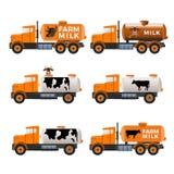 Mjölka behållarelastbilar stock illustrationer
