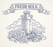 Mjölka cans, och exponeringsglas av mjölkar stock illustrationer
