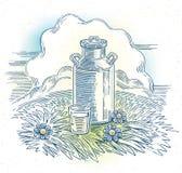 Mjölka cans, och exponeringsglas av mjölkar royaltyfri illustrationer