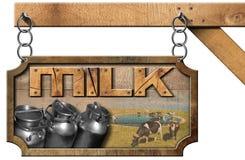 Mjölka cans - trä- och metalltecknet med kedjan royaltyfri illustrationer