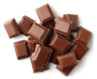 Mjölka chokladstycken Fotografering för Bildbyråer