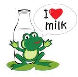 Mjölka den glade grodan Arkivfoto