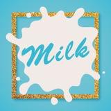 Mjölka etikettbokstäver mjölka Arkivfoto