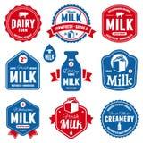 Mjölka etiketter Arkivfoton