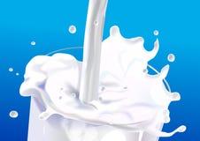 mjölka färgstänk royaltyfri illustrationer