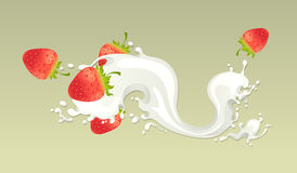 Mjölka färgstänk med jordgubben Royaltyfri Fotografi