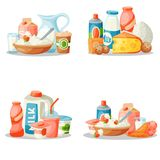 Mjölka frukosten för stil för mejeriproduktvektorlägenheten som nytt gourmet- organiskt mål bantar för drinkingrediensen för mat  stock illustrationer