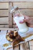 Mjölka i en flaska och kakor med tranbär Arkivbild