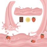 Mjölka illustrationen för vektorn för färgstänkdesignbeståndsdelar Arkivfoton