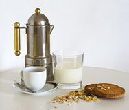 Mjölka, kaffe och mysli Royaltyfria Bilder