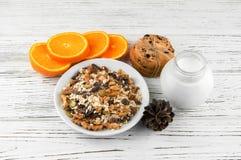 Mjölka, kakor och havremjölet med frukt, russin och muttrar Sunt Royaltyfria Foton