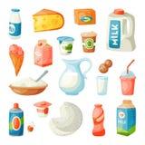 Mjölka mejeriprodukter i plan stilfrukost som nytt gourmet- organiskt mål bantar för drinkingrediensen för mat den mjölkaktiga ve royaltyfri illustrationer