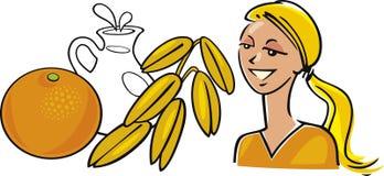 mjölka oatorangekvinnan vektor illustrationer