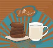 Mjölka och chokladcakes - vektorteckning Royaltyfria Bilder