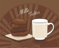 Mjölka och chokladcakes - vektorteckning Royaltyfri Foto