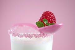 Mjölka och hallon Royaltyfria Bilder