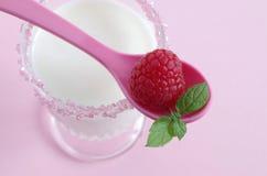 Mjölka och hallon Royaltyfri Fotografi