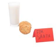 Mjölka och hem- kakor för jultomten II Royaltyfria Bilder