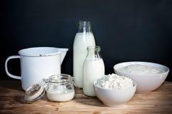 Mjölka produkter, milky vitt milky långt Royaltyfri Bild
