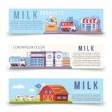Mjölka produktionhorisontalbanermallen royaltyfri illustrationer