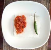 Mjölka ris och den varma chili Fotografering för Bildbyråer
