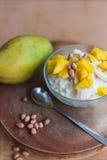Mjölka rishavregröt med fruktmango Arkivfoton