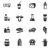 Mjölka symbolsuppsättningen royaltyfri illustrationer