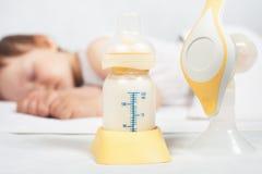 Mjölkar den manuella bröstpumpen för closeupen, moderbröst royaltyfri fotografi