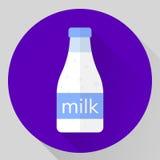 Mjölkar den plana symbolen för vektorn flaskan Royaltyfri Foto