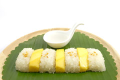 Mjölkar klibbiga ris för thailändsk söt mango med kokosnöten, vit bakgrund Arkivfoto