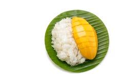Mjölkar söta klibbiga ris för efterrätt med mangokokosnöten fotografering för bildbyråer