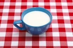 Mjölka i blå kopp Arkivbild