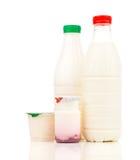 Mjölka, mejeriprodukter och yoghurten Royaltyfria Bilder