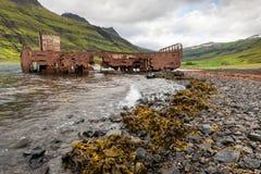 Mjoifjordur,冰岛-被放弃的渔船在海湾生锈 免版税库存照片
