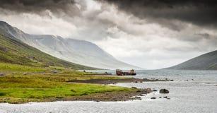 Mjoifjordur, Исландия - панорама развалины рыбацкой лодки ржавея внутри Стоковые Изображения RF