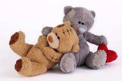 Mjuk björn som två isoleras på vit fotografering för bildbyråer