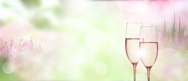 Mjuk blom- bakgrund med champagne Royaltyfri Foto