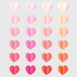 Mjuk färg vek pappers- hjärtor som isolerades på genomskinligt ljus 10 eps vektor illustrationer