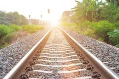 Mjuk fokus, järnvägspår Royaltyfri Foto