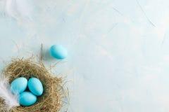 Mjuk garnering för vitblåttpåsk, målade påskägg i en ne Arkivbild