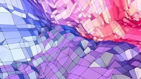 Mjuk geometrisk låg poly rörelsebakgrund med rena blåa röda polygoner Abstrakt enkel blå röd låg poly yttersida 3D som stock video