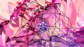 Mjuk geometrisk låg poly rörelsebakgrund med rena blåa röda polygoner Abstrakt enkel blå röd låg poly yttersida 3D som stock illustrationer