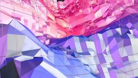 Mjuk geometrisk låg poly rörelsebakgrund med rena blåa röda polygoner Abstrakt enkel blå röd låg poly yttersida 3D som lager videofilmer