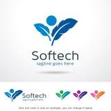 Mjuk teknologi Logo Template Design Vector Royaltyfri Illustrationer