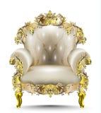 Mjuk textil för lyxig barock fåtölj Realistiska designer 3D för vektor Guld- sned prydnader Royaltyfria Bilder