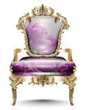 Mjuk textil för lyxig barock stol Realistiska designer 3D för vektor Guld- sned prydnader Arkivbild