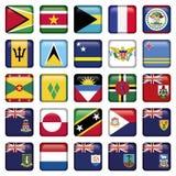 Mjuka kvadrerade knappar för amerikanska flaggan stock illustrationer